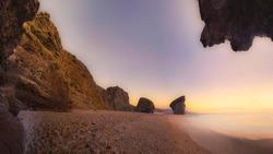 Panoramic View of Playa de los Muertos at sunrise
