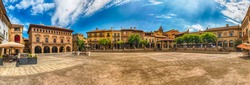 Panoramic view of Plaza Mayor, main square in Poble Espanyol, an open-air architectural museum on the Montjuic hill in Barcelona, Catalonia, Spain