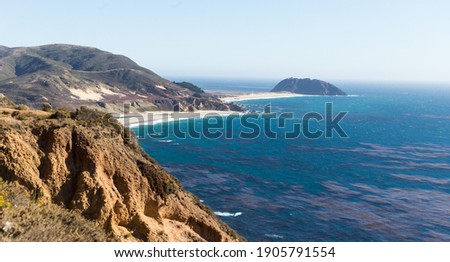 Panoramic View of Point Sur Lighthouse Rock, Pacific Coast Highway, California, USA  Stockfoto ©