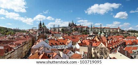 Panoramic view of Prague Castle and Lesser Town from Lesser Town Bridge Tower (Charles Bridge)