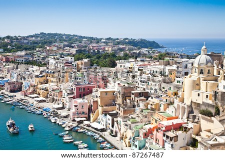Panoramic view of Procida Isle, in Naples Gulf, Italy