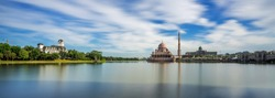panoramic view of putra mosque with slowshutter technic.