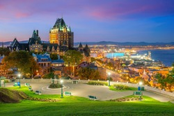Panoramic view of Quebec City skyline with  Saint Lawrence river in  Canada