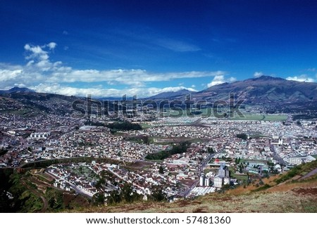 Panoramic view of Quito in Ecuador