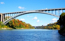panoramic view of rainbow bridge connected USA and canada