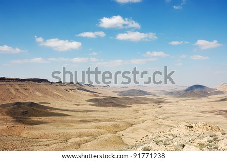 Panoramic view of Ramon crater in spring, Negev desert in Israel.