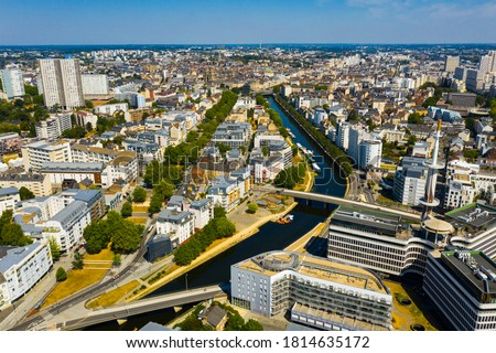 Panoramic view of Rennes city with modern apartment buildings , administrative center of Brittany region, France.. Photo stock ©