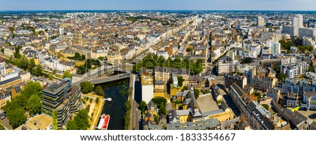 Panoramic view of Rennes city with modern apartment buildings , administrative center of Brittany region, France.. Stok fotoğraf ©