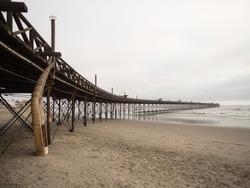 Panoramic view of restored Pimentel pier Muelle at pacific ocean beach Chiclayo Lambayeque Peru Latin South America