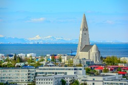 Panoramic view of Reykjavik, the capital of Iceland, with a view of Hallgrimskirkja church.