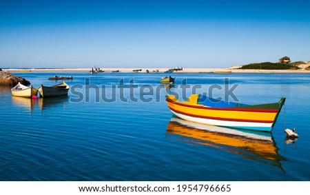 Panoramic view of Rio da Madre in the fishing village, Praia do Guarda do Embaú, State of Santa Catarina, Brazil Foto stock ©