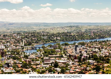 Panoramic view of river and city. Cordoba, Argentina. #656240947