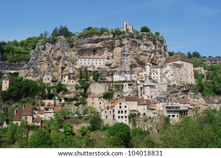 Panoramic view of Rocamadour, village perched on a cliff. Department of Lot. France