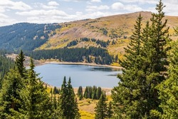 Panoramic view of Rocky Mountains near Duck Lake at Guanella pass in Colorado
