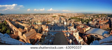 Panoramic view of Rome from St. Peters cathedral