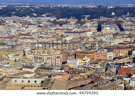 panoramic view of Rome from the height of St. Peter's