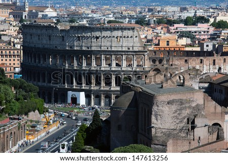 Panoramic view of Rome with Forum and Colosseum, Italy