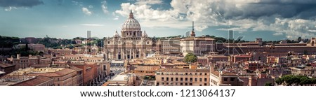 Panoramic view of Rome with St Peter\'s Basilica in Vatican City, Italy. Beautiful Roma skyline. Nice panorama of Rome from above. Rome cityscape with landmark in summer. Horizontal banner with Rome.