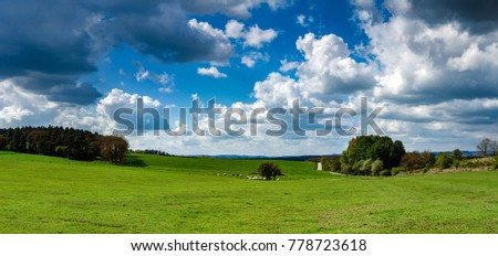 Panoramic view of rural landscape, sunny spring day, Belgium