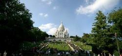 panoramic view of Sacre Coeur in Paris, horizontal view, sunny day