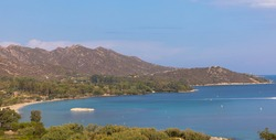 Panoramic view of Sagone Bay with a rocky coastline. Corse du Sud, Corsica. Tourism an vacations concept.