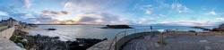 panoramic view of Saint Malo from the walk on the medieval walls, Breton landscape