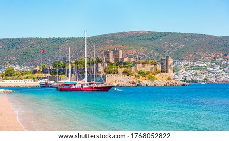 Panoramic view of Saint Peter Castle (Bodrum castle) and marina  View of Bodrum beach in the foreground - Bodrum, Turkey
