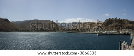 Panoramic view of San Sebastian de la Gomera, Canary islands, Spain