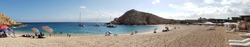 Panoramic view of Santa Maria beach between Cabo San Lucas and San Jose del Cabo.  It is swimmable and frequently used by snorkeling tour boats