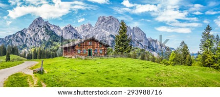 Panoramic view of scenic mountain landscape in the Alps with traditional old mountain chalet and fresh green meadows in springtime #293988716