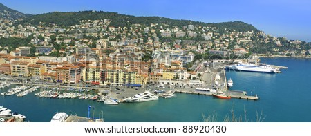Panoramic view of sea port of City of Nice, Cote d'Azure, France