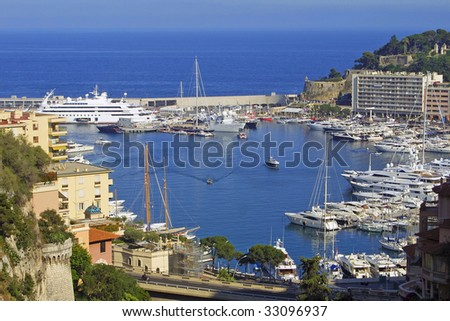 Panoramic view of sea port of Monte-Carlo, Monaco
