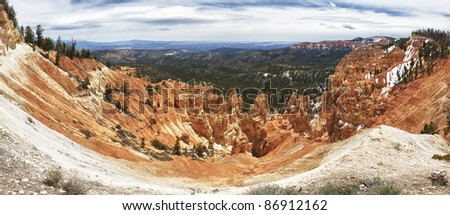 panoramic view of sedimentary rock formations in bryce canyon national park, utah in summer