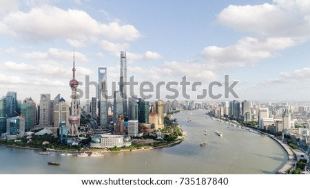 panoramic view of shanghai skyline and huangpu river #735187840