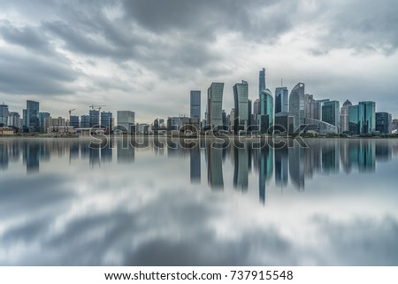 panoramic view of shanghai skyline with huangpu river #737915548