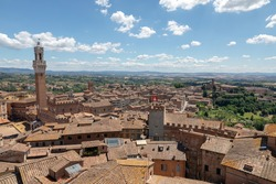 Panoramic view of Siena city with historic buildings and far away green fields from Siena Cathedral (Duomo di Siena). Summer sunny day and dramatic blue sky