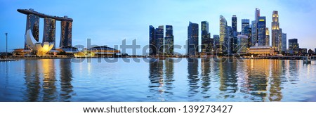 Panoramic view of Singapore at the colorful dusk