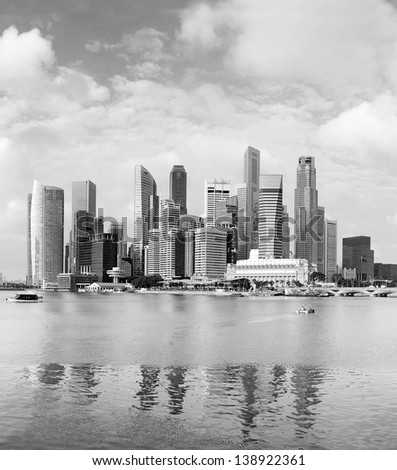 Panoramic view of Singapore in the sunshine morning