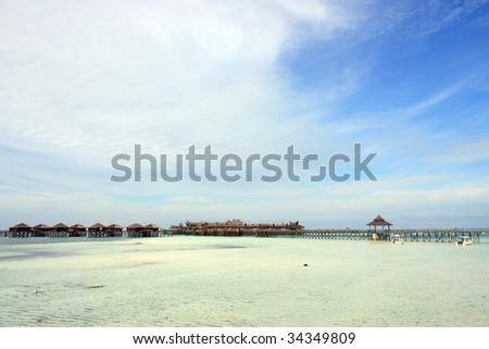 Panoramic view of Sipdan water village resort at Mabul Island.