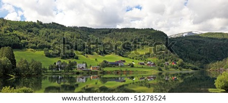 Panoramic view of small norwegian village, Scandinavian Europe.