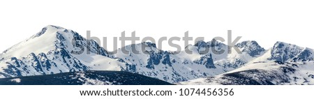Panoramic view of snowy mountains in a mountain range isolated over white #1074456356