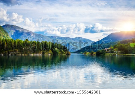 Panoramic  view of Sognefjord, one of the most beautiful fjords in Norway