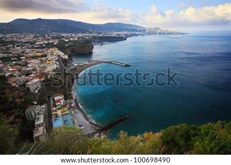 panoramic view of Sorrento peninsula and bay