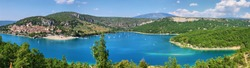 Panoramic view of St. Croix lake in Verdon near Bauduen village, Provence, France