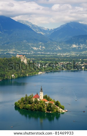 Panoramic View of  St. Mary´s Church of the Assumption on the small island in Bled, Slovenia.