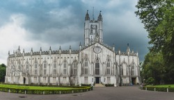 Panoramic View of st paul's cathedral kolkata. St. Paul's Cathedral is a CNI Cathedral of Anglican background in Kolkata, West Bengal, India, noted for its Gothic architecture.