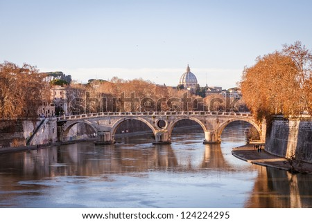 Panoramic view of St. Peter's Basilica and the Vatican City  - Rome, Italy