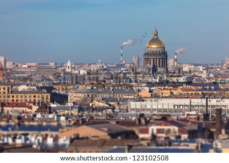 Panoramic view of St. Petersburg with a St. Isaac's Cathedral