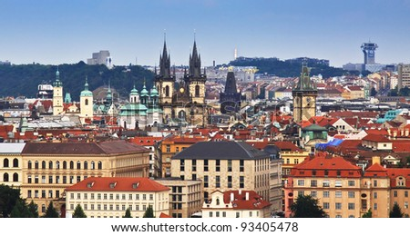 Panoramic view of Stare mesto district of Prague - stock photo