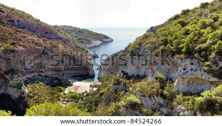 Panoramic view of Stiniva bay, island Vis, Croatia